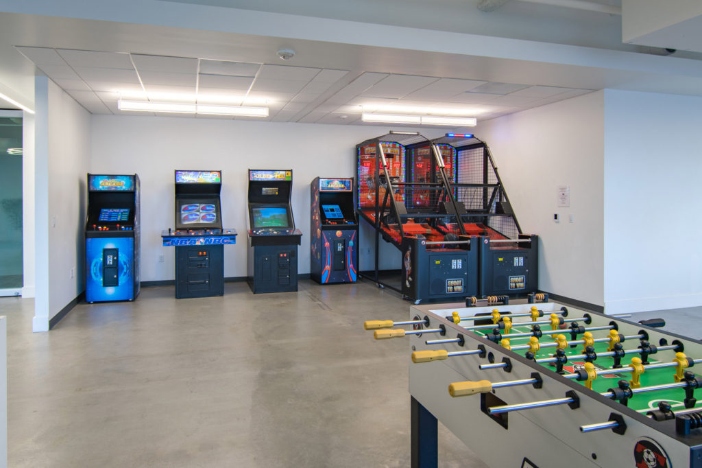 Game room for themed events at deck655 in San Diego
